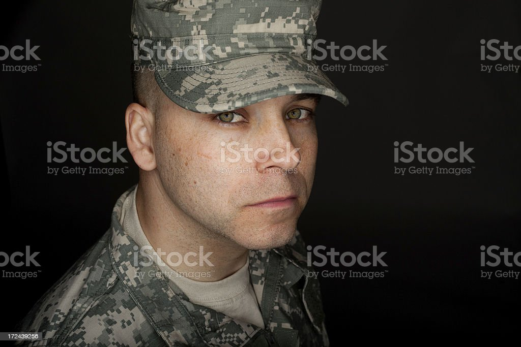 Serious Soldier Headshot stock photo