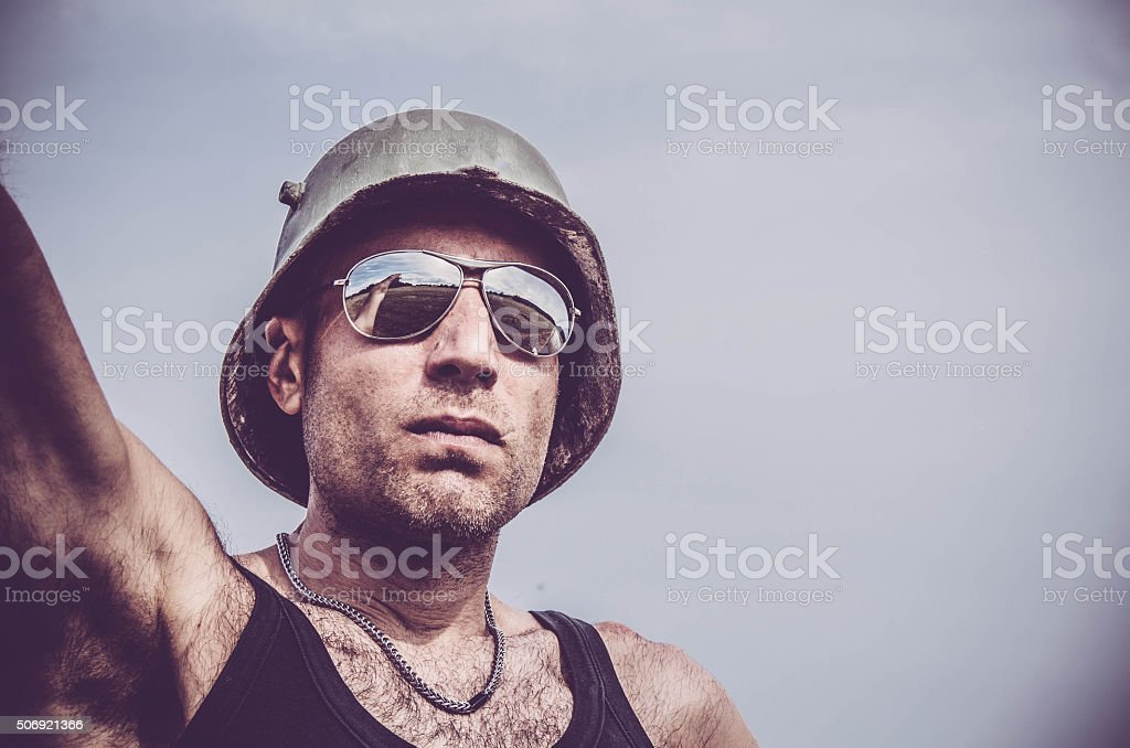 Serious soldier stock photo