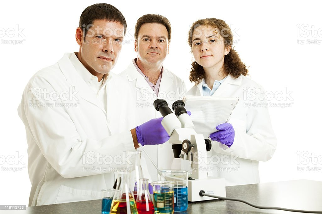 Serious Team of Scientists royalty-free stock photo