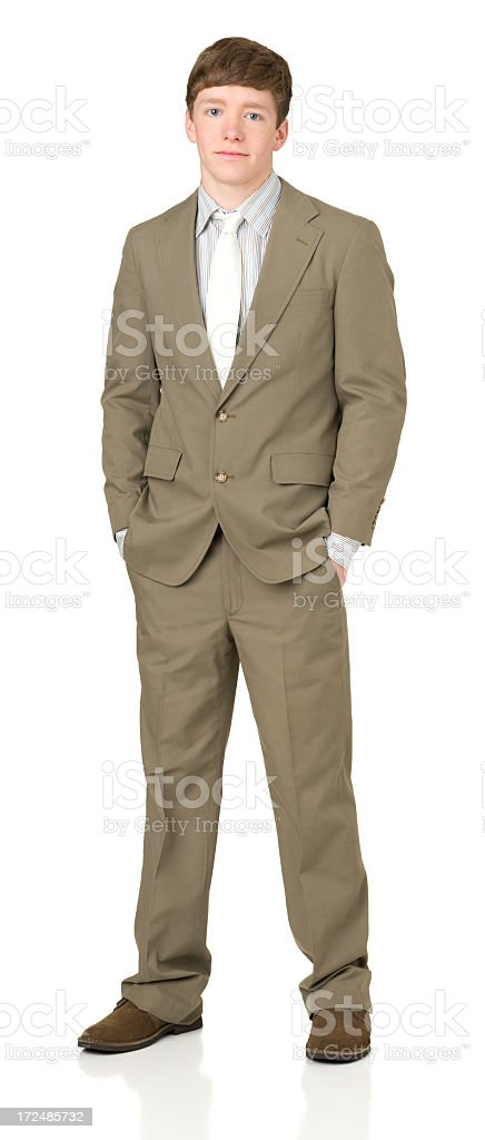 Serious Teenage Boy In Suit royalty-free stock photo