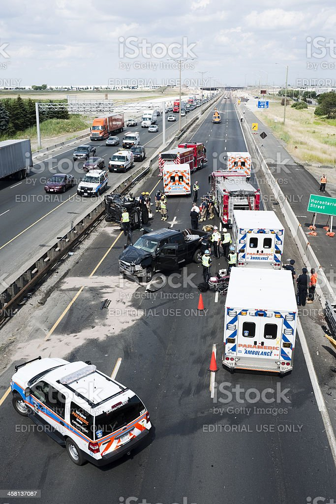Serious Traffic Collision, Highway 401, Toronto stock photo