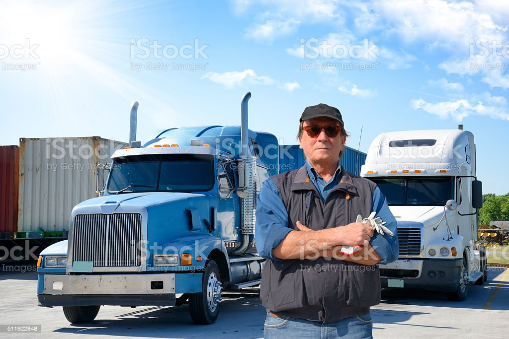 Serious truck driver stock photo