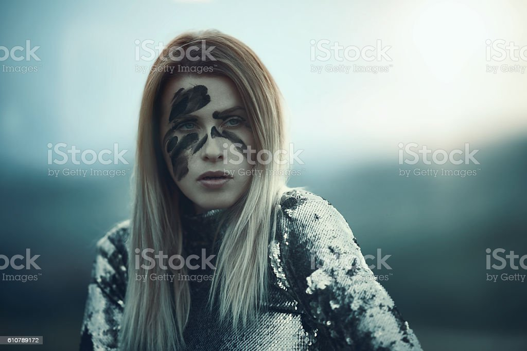 serious warrior look stock photo