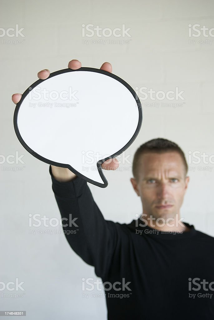 Serious With Speech Bubble royalty-free stock photo