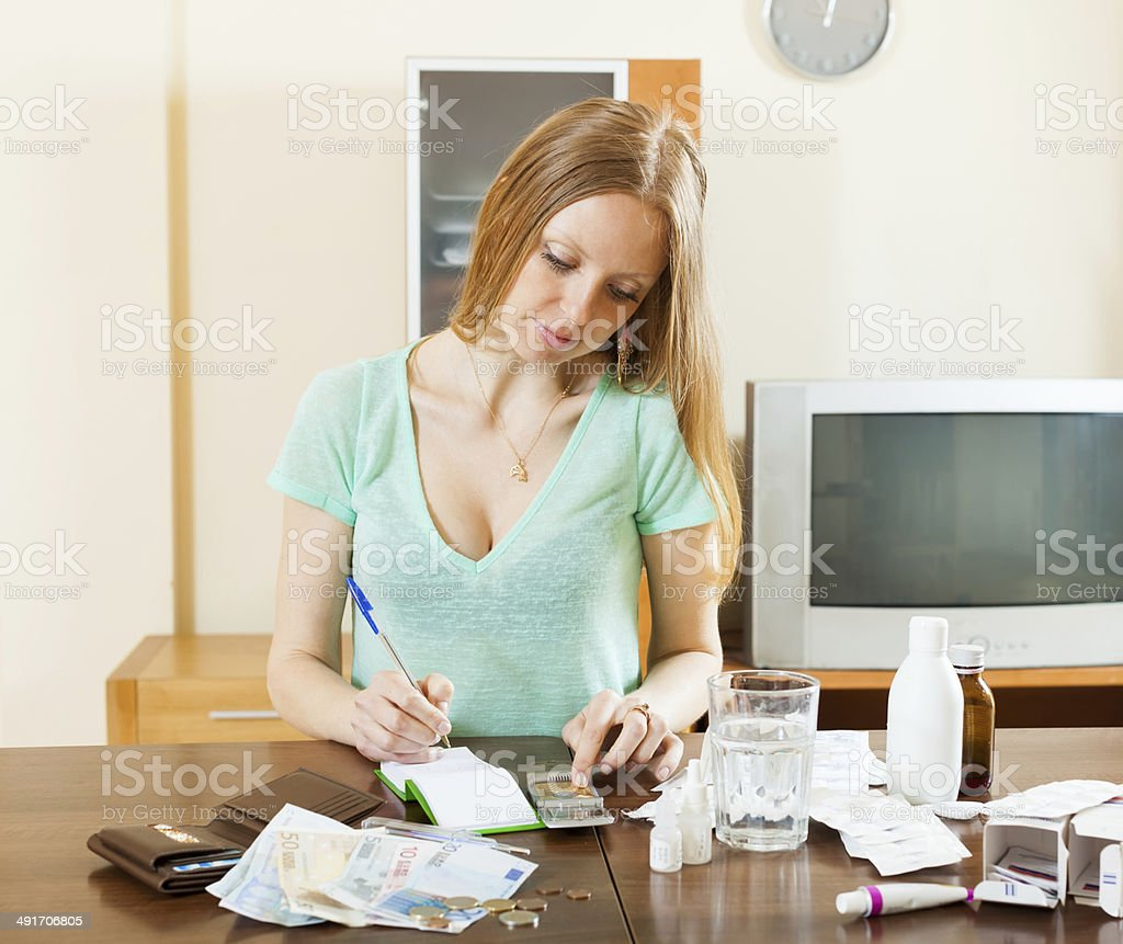 serious woman counting the cost of medications stock photo