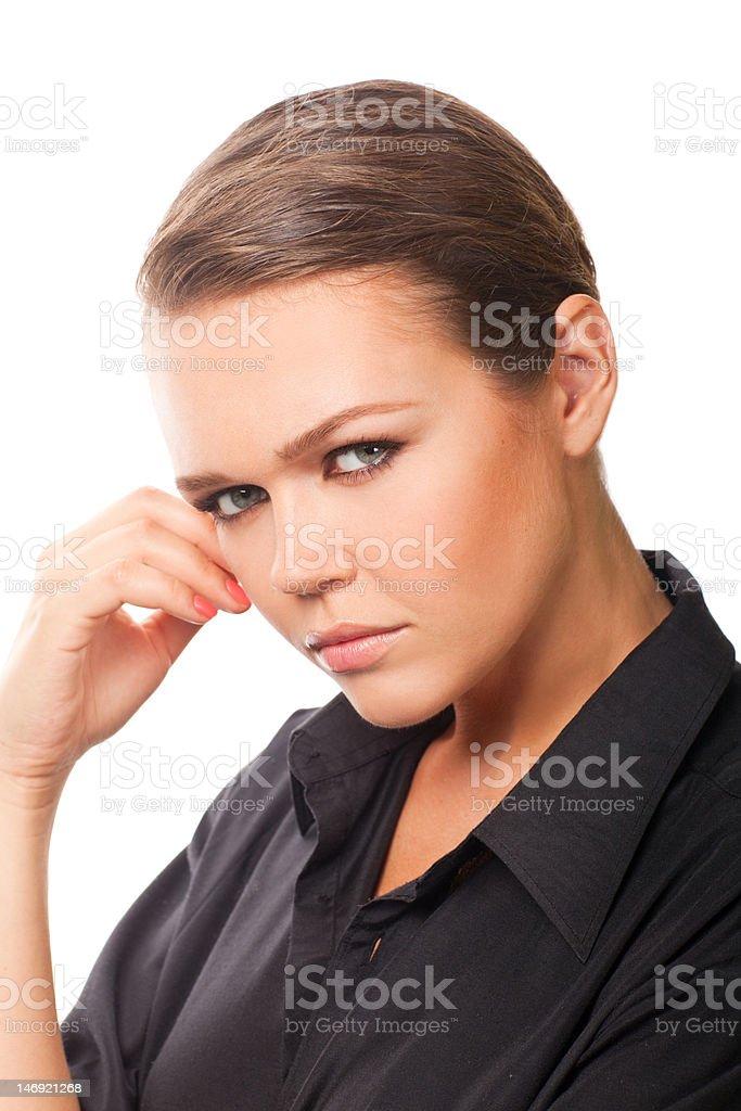 Sérieux femme sur blanc photo libre de droits