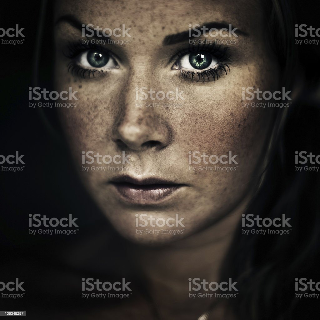 Serious woman stock photo