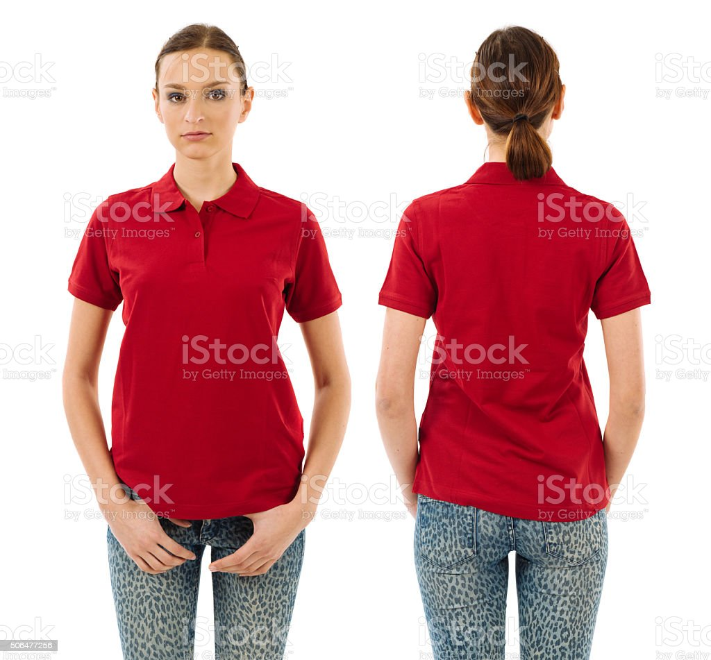 Serious woman with blank red polo shirt stock photo