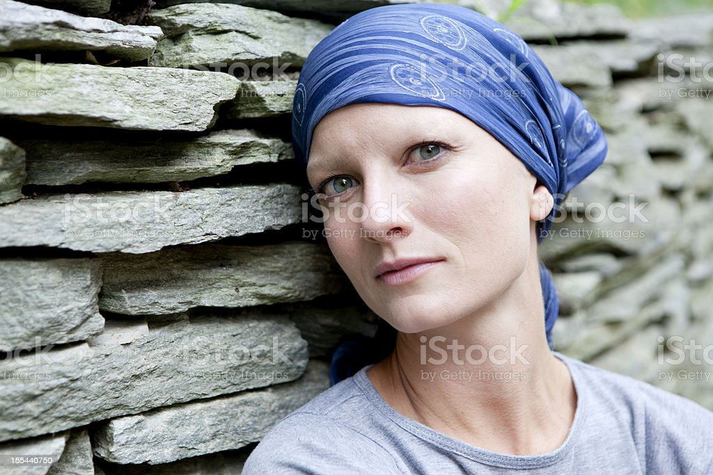 Serious Woman with Cancer stock photo