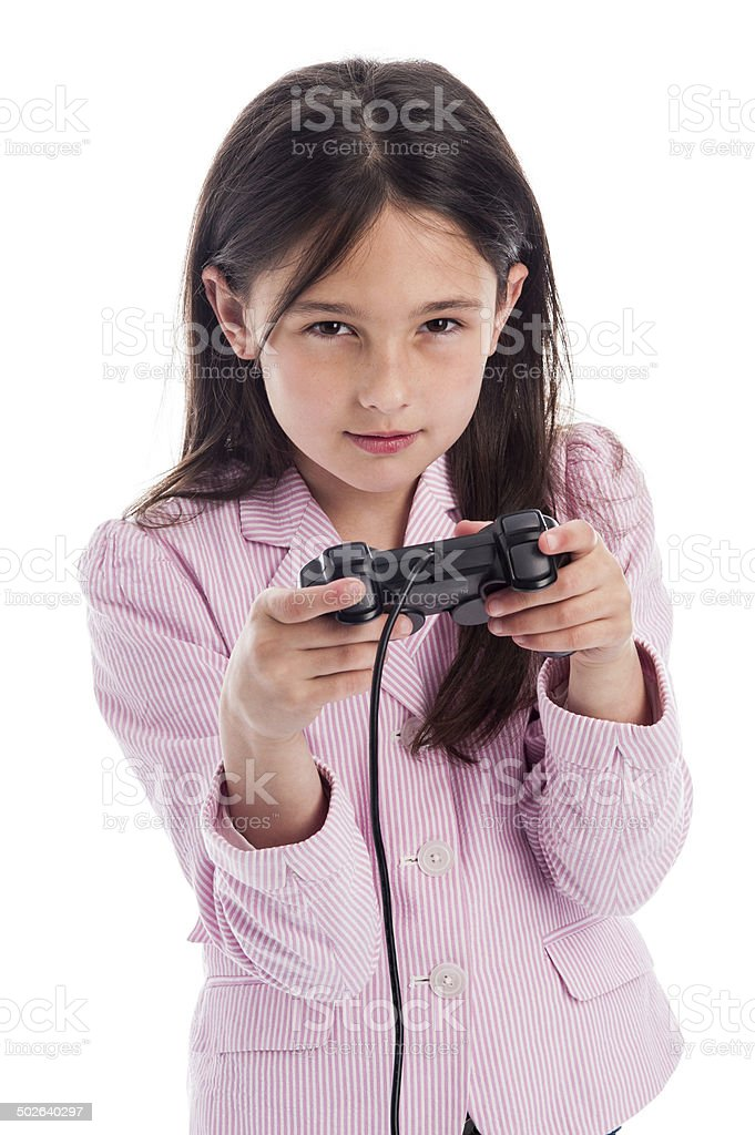 Serious Yound Girl with Games Console Controller. royalty-free stock photo