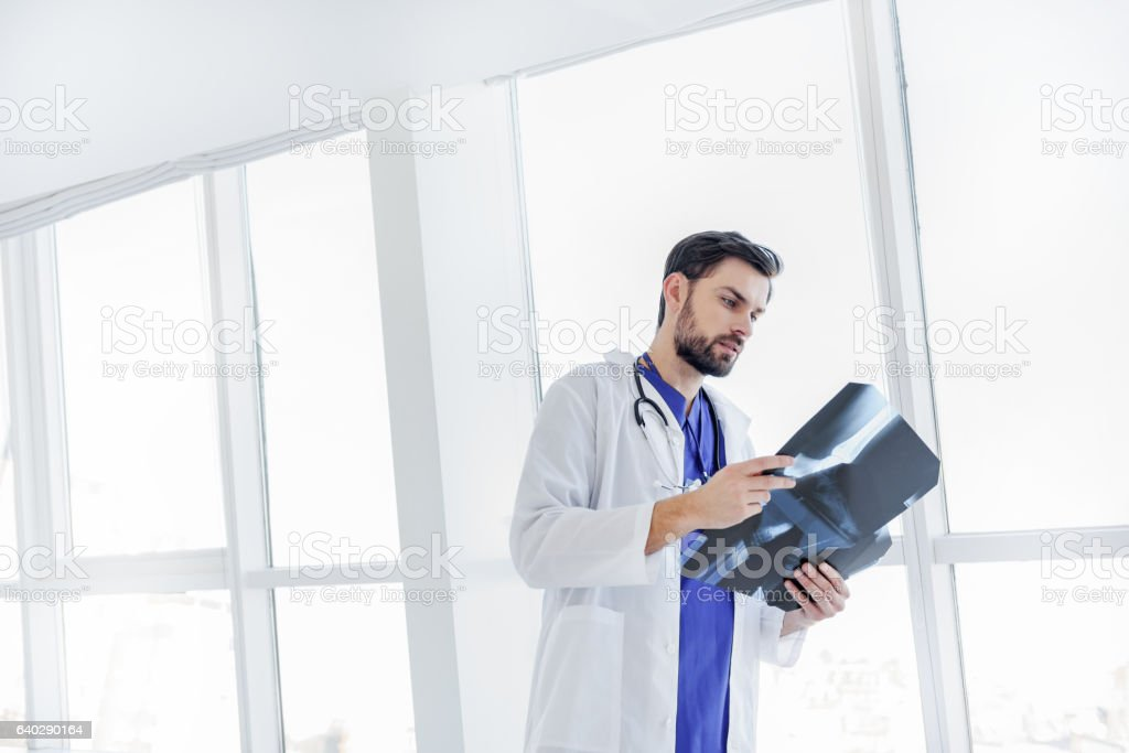 Serious young doctor analyzing radiograph stock photo