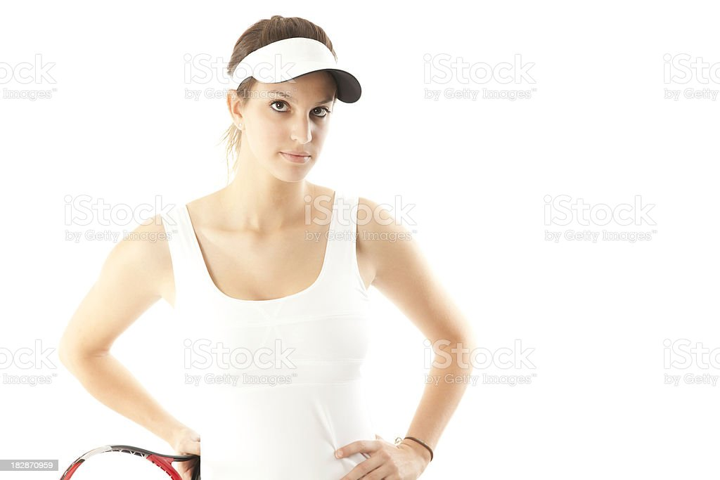 Serious Young Female Tennis Player, Isolated on White royalty-free stock photo