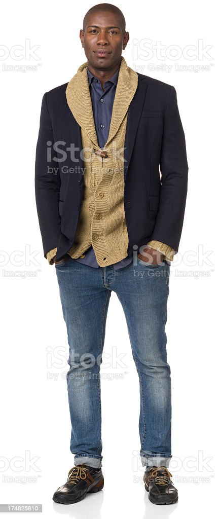 Serious Young Man Full Length Portrait royalty-free stock photo