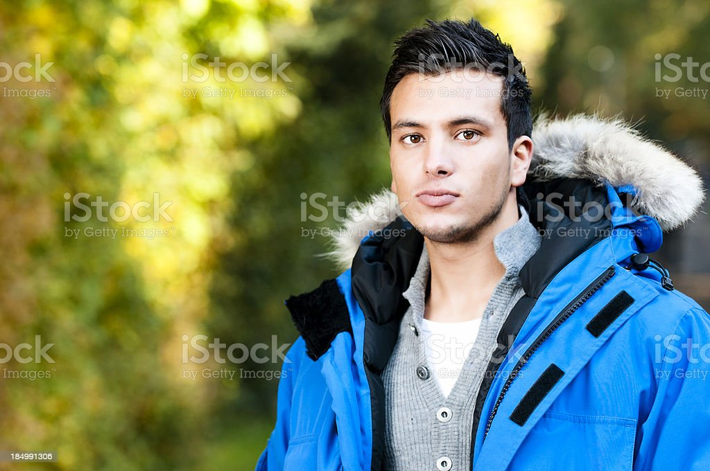Serious young man in winther clothes royalty-free stock photo