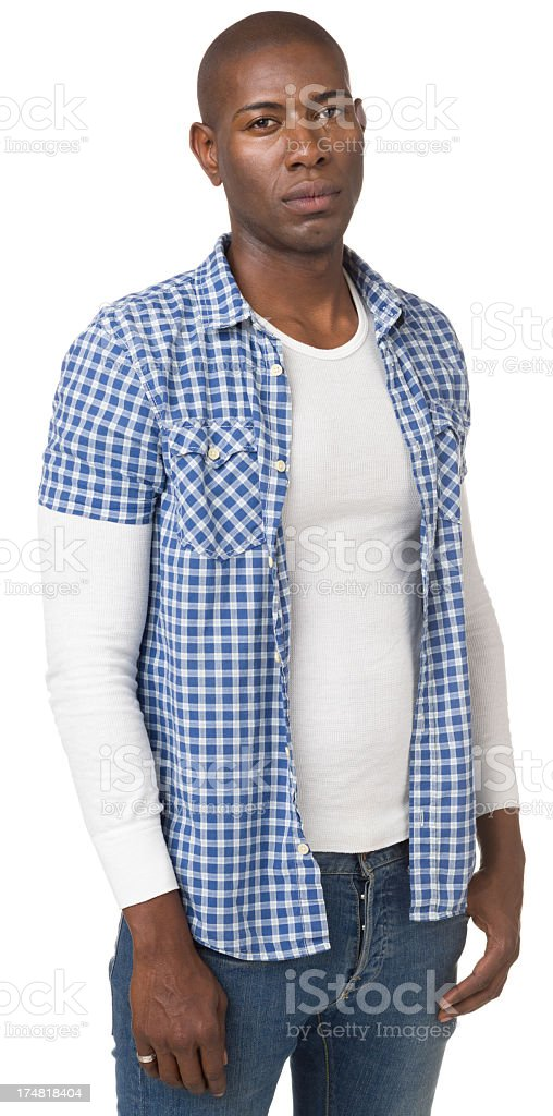 Serious Young Man Three Quarter Length Portrait royalty-free stock photo