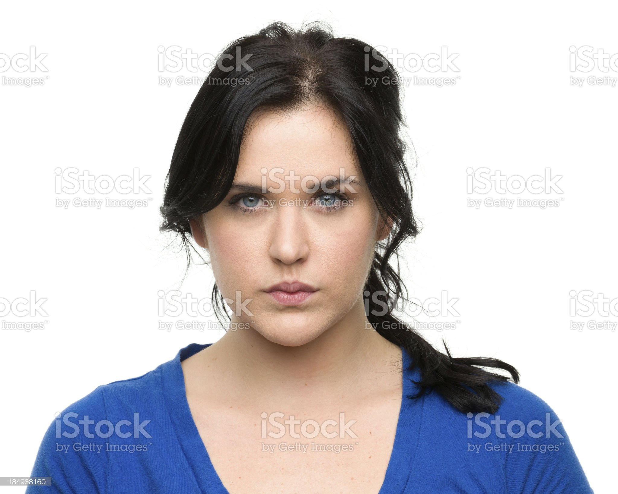 Serious Young Woman Headshot royalty-free stock photo