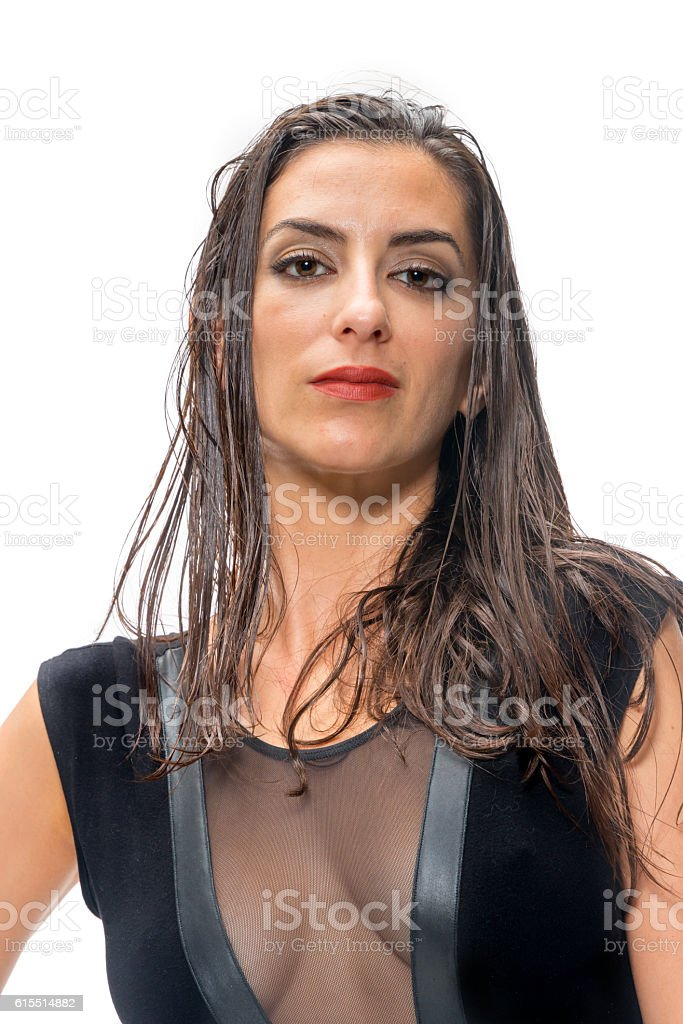 Serious Young Woman stock photo