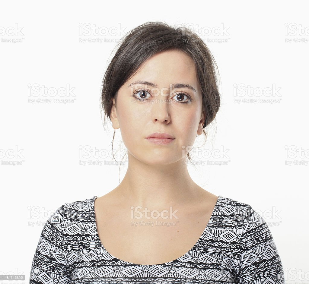 Serious Young Woman Portrait. stock photo