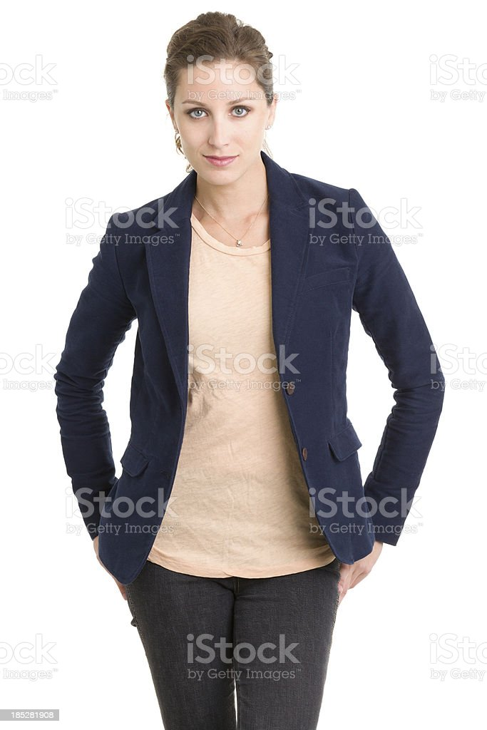 Serious Young Woman Three Quarter Portrait stock photo