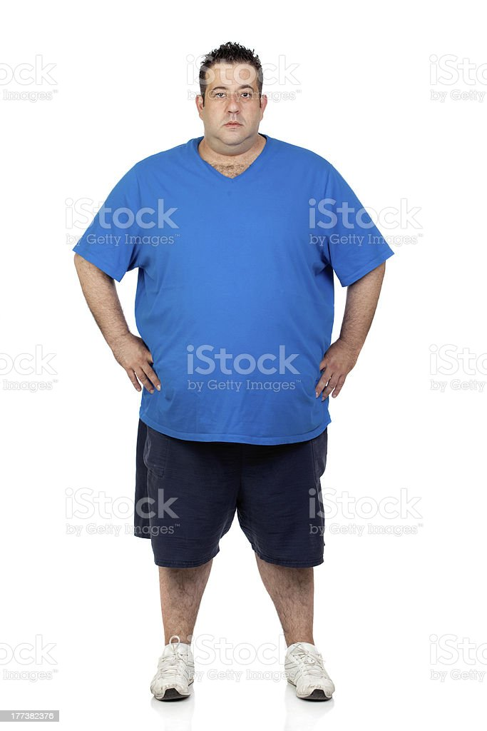 Seriously fat man stock photo