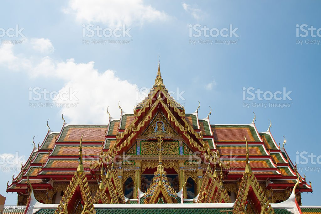 Sermon hall in a monastery with sky blue royalty-free stock photo