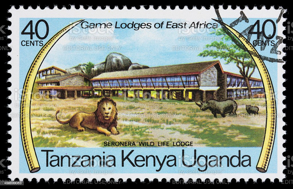 Seronera Wildlife Lodge, Tanzania, postage stamp stock photo