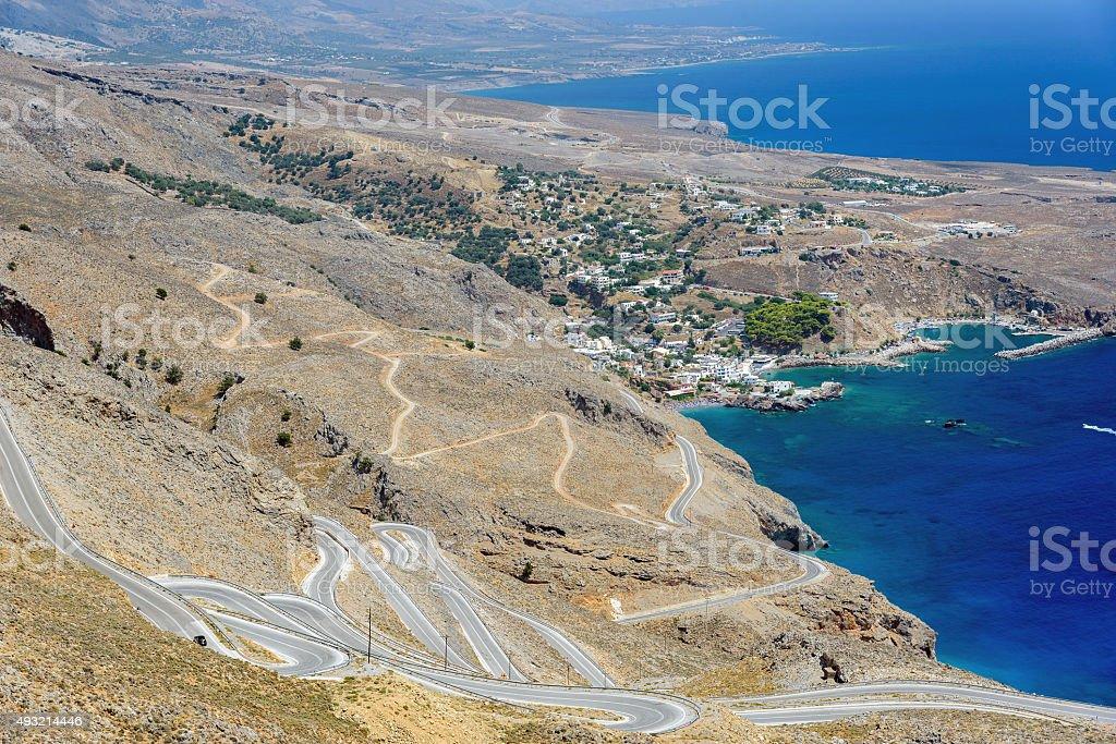 Serpantine road to Aradena near Sfakia on Crete island stock photo