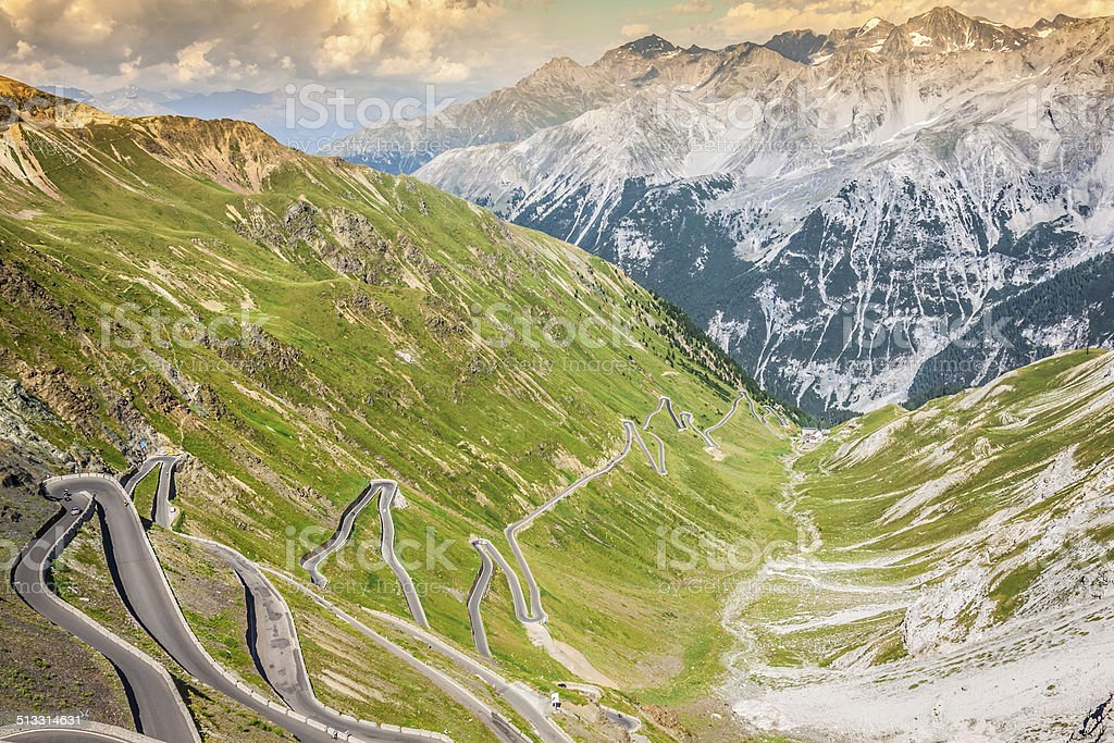 serpentine mountain road in Italian Alps, Stelvio pass, Passo de stock photo