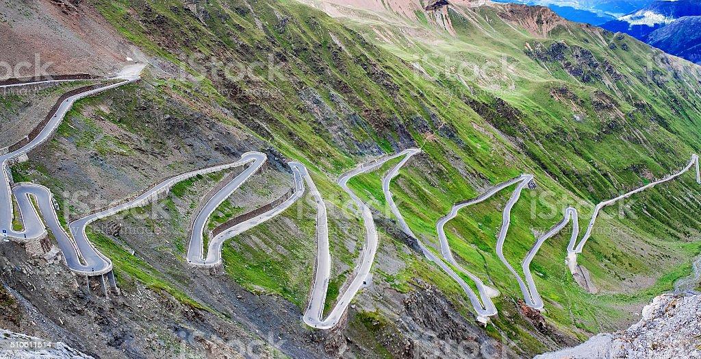 serpentine mountain road in Italian Alps, Stelvio pass stock photo