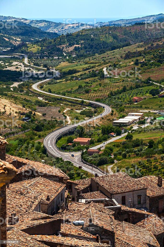 serpentine mountain road in Italian stock photo