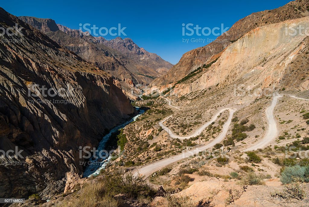Serpentine mountain road stock photo