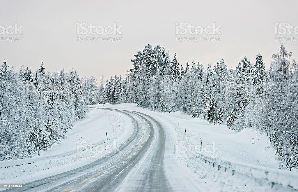 Serpentine road in Finland, Arctic stock photo