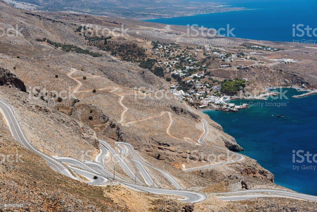 Serpentine road to Aradena gorge near Sfakia, Crete island stock photo