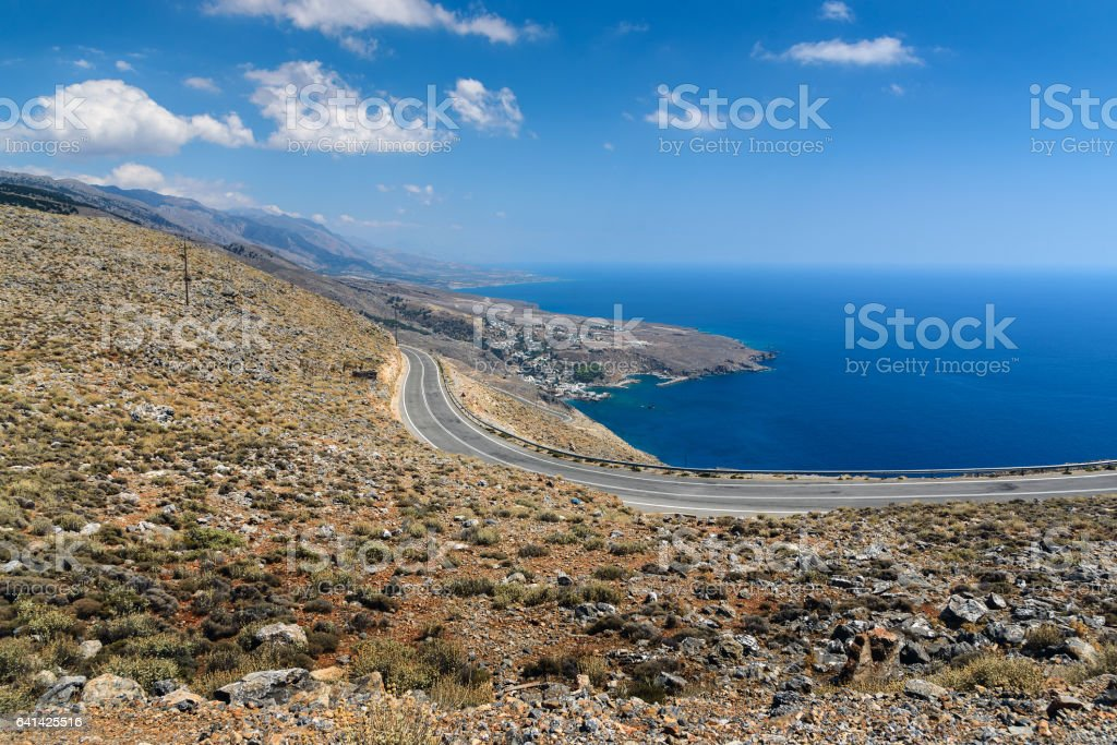 Serpentine road to Aradena gorge near Sfakia town, Crete stock photo