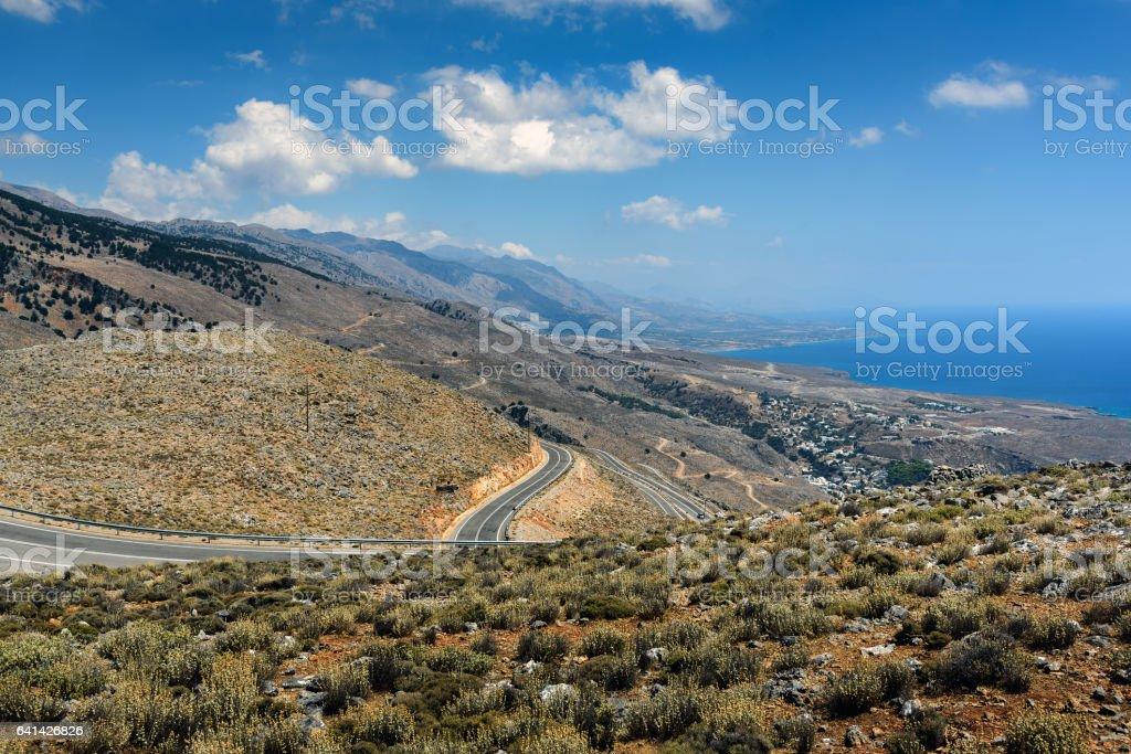 Serpentine road to Aradena gorge on Crete island stock photo