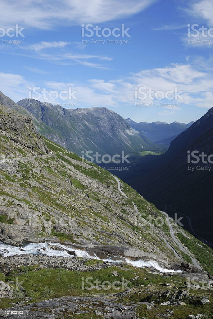 Serpentine road twisting on the mountain. Trollstigen. stock photo
