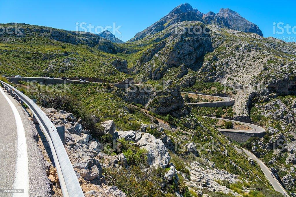 Serpentine streets in the serra de Tramuntana - Mallorca stock photo