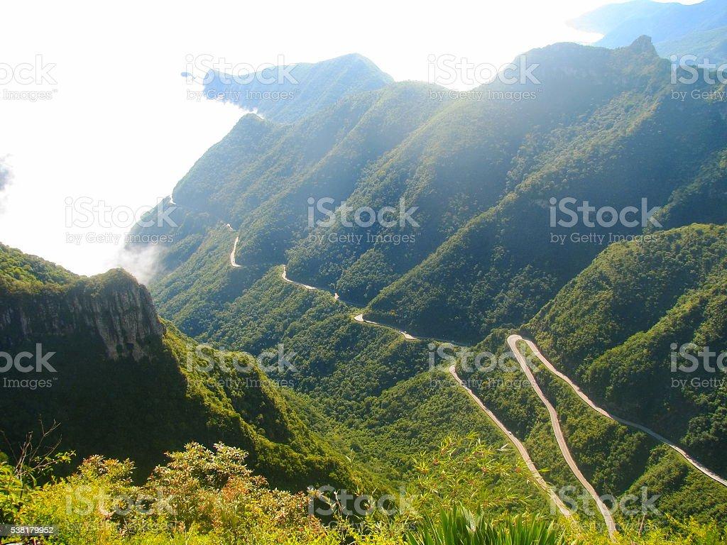 Serra do Rio do Rastro mountain road, Southern Brazil. stock photo