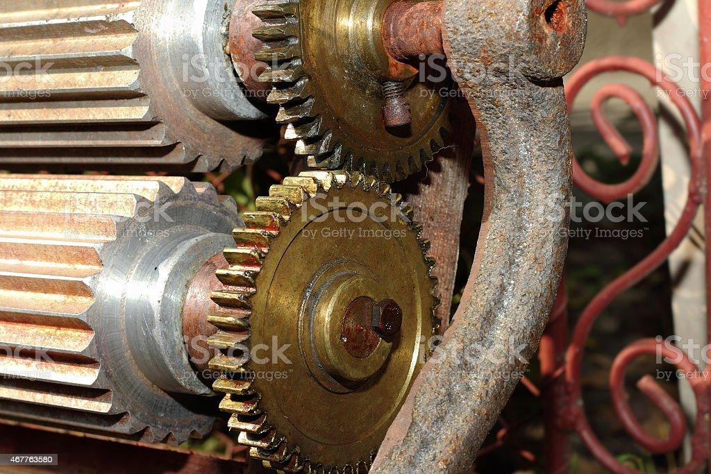 serrated wheels on a manual wine making machine stock photo