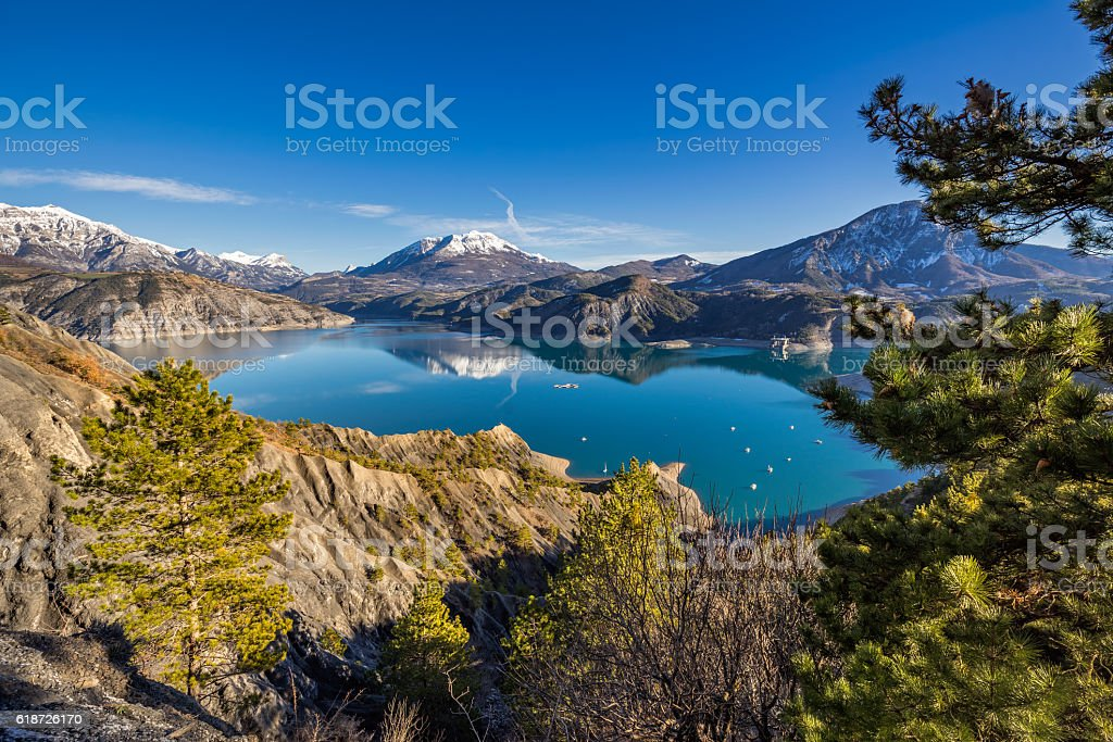 Serre Poncon Lake in Winter, Southern French Alps, France stock photo
