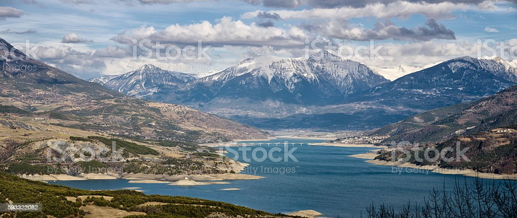 Serre-Poncon Lake in Winter. Southern Alps, Hautes Alpes, France stock photo