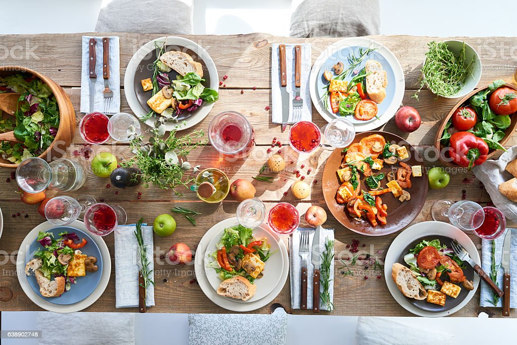 Served dining table stock photo