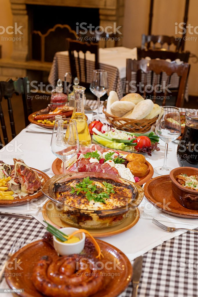 Served food in restauarnt stock photo
