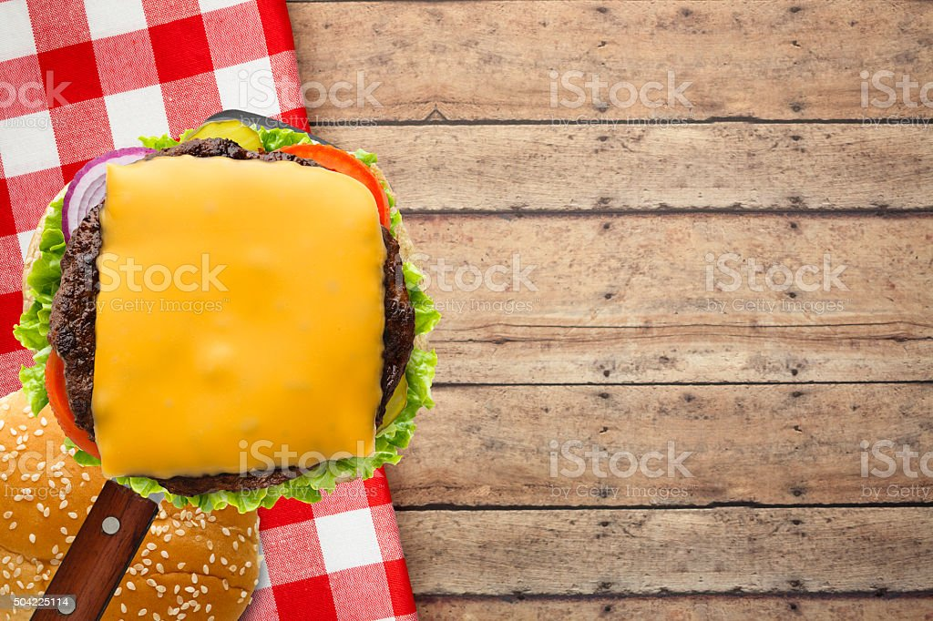 Served Grilled Cheese Burger on Spatula stock photo