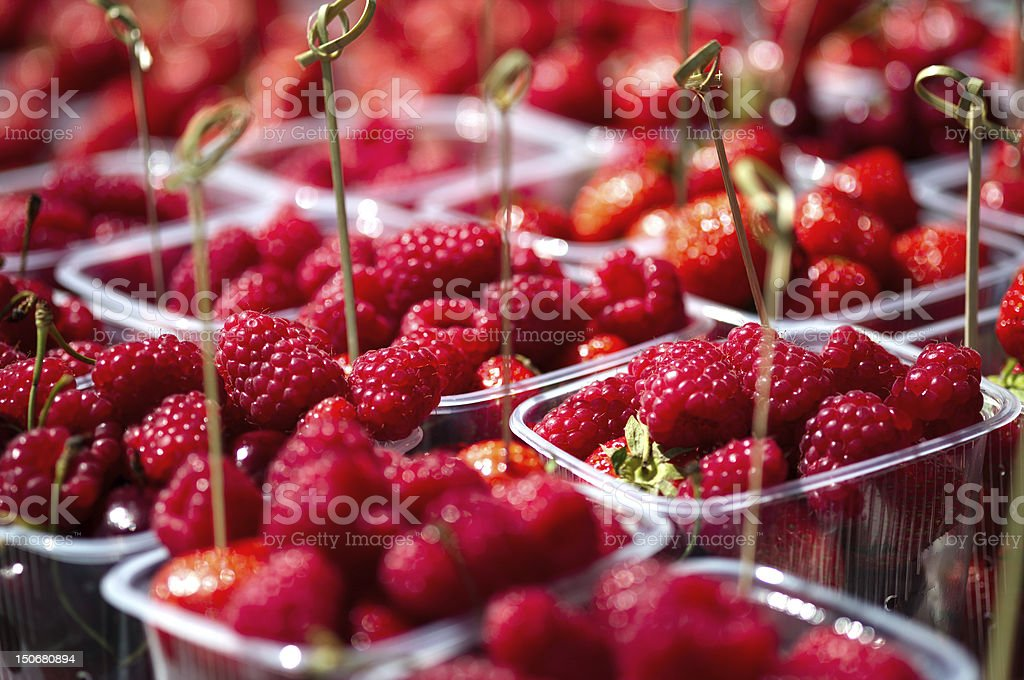 Served raspberries royalty-free stock photo