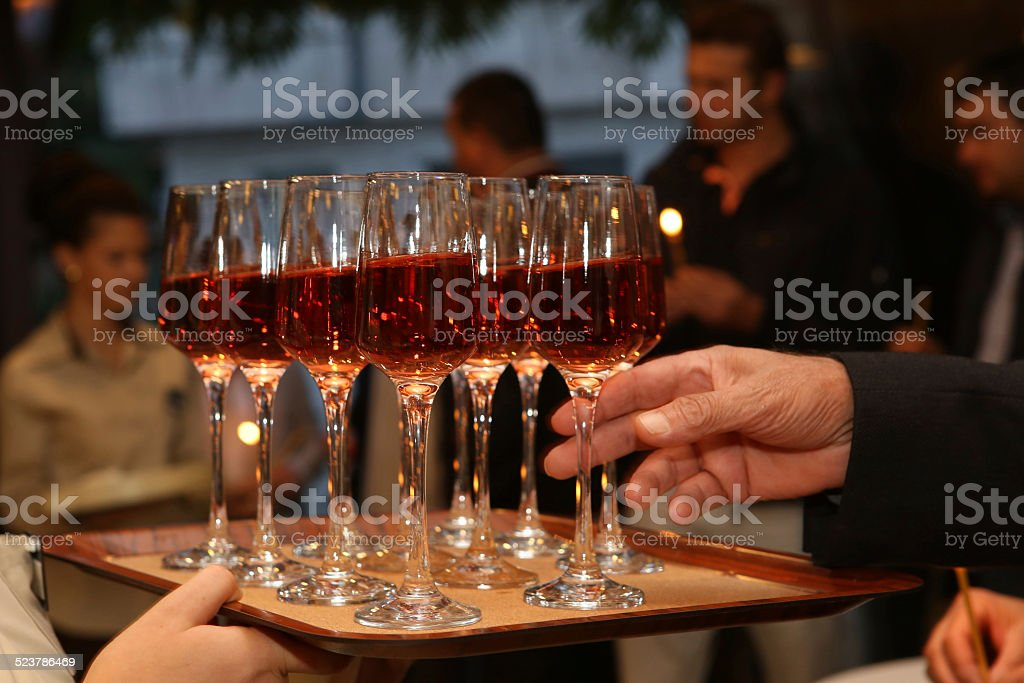 Served red wine stock photo