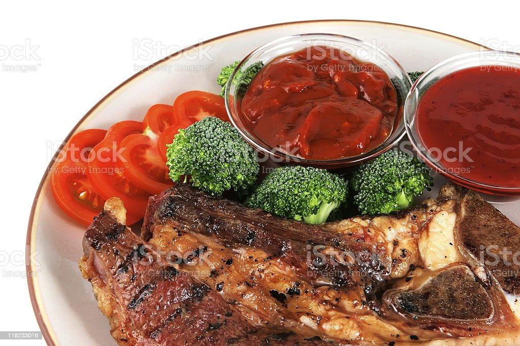 served roast steak close up royalty-free stock photo