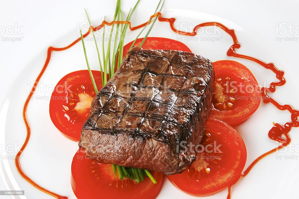 served roasted beef meat royalty-free stock photo