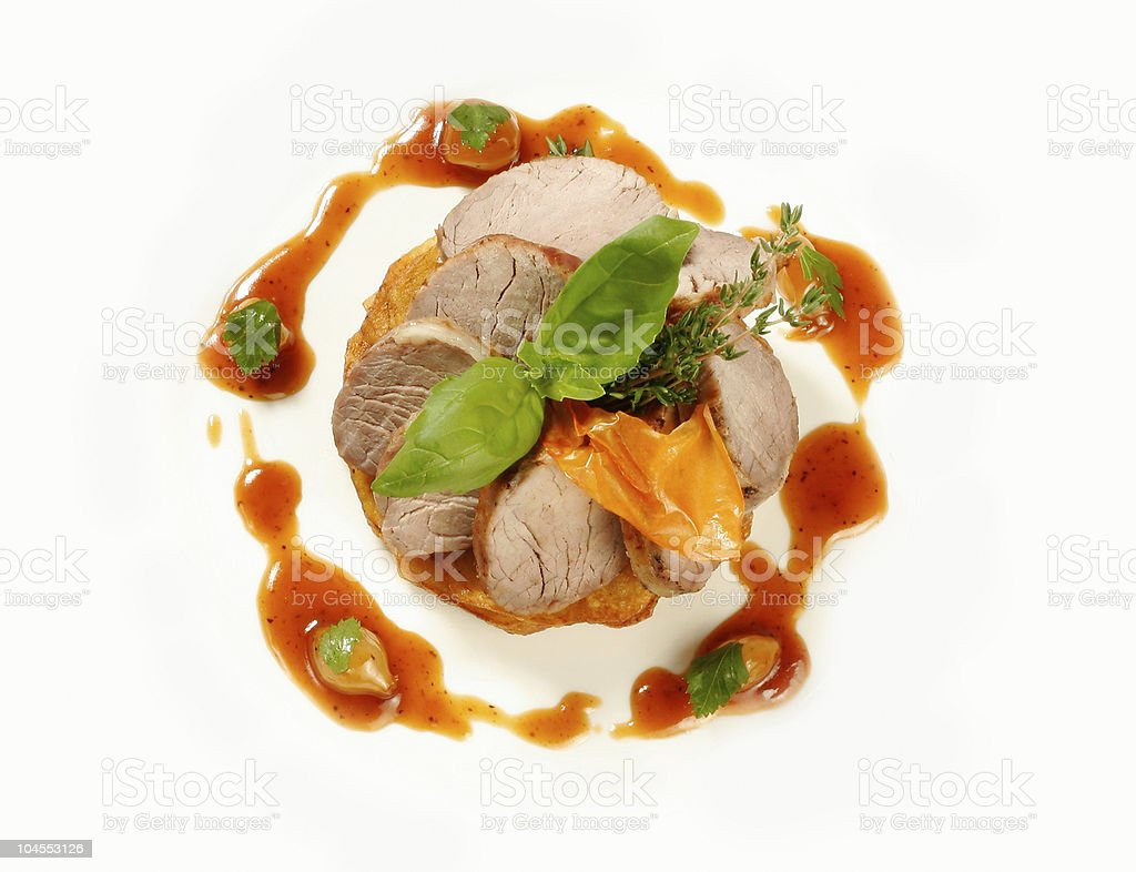 Served roasted beef royalty-free stock photo