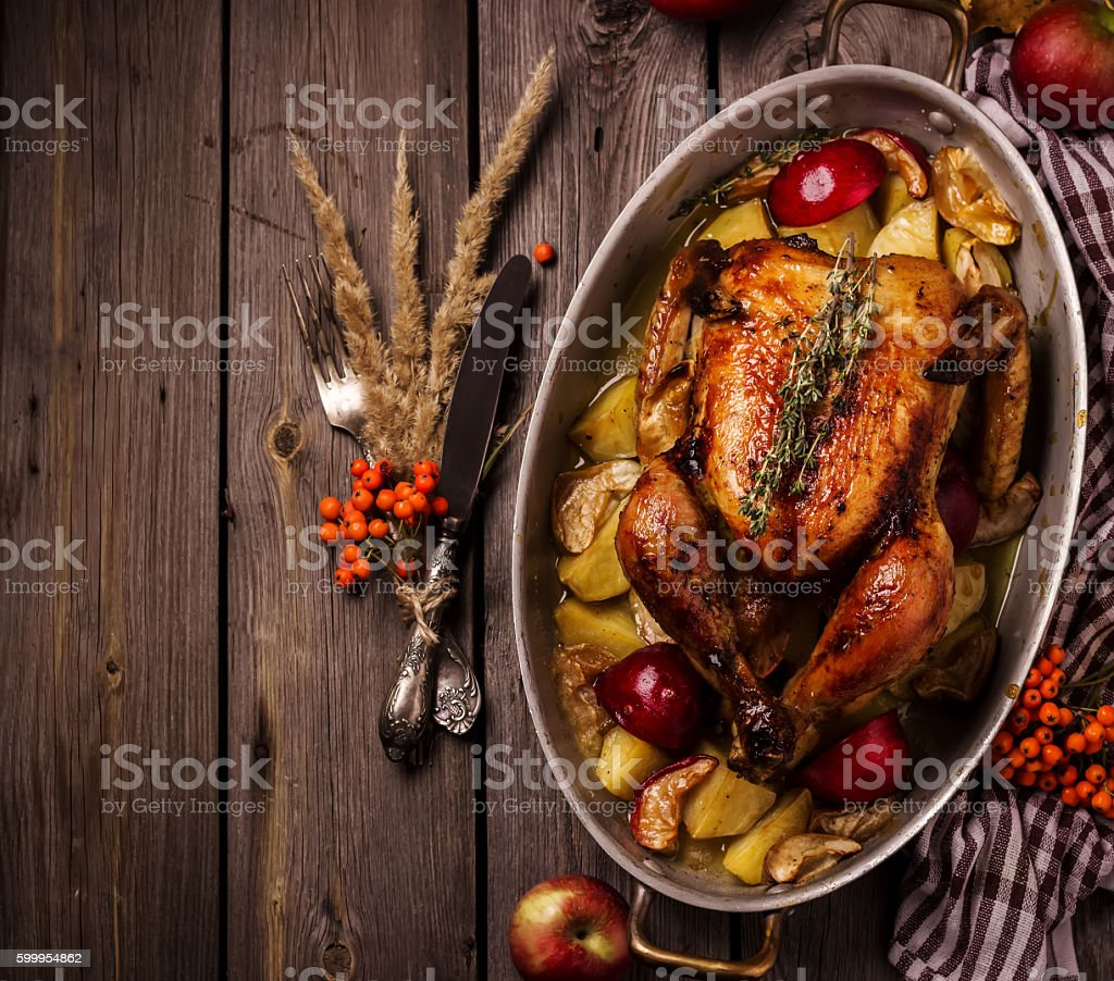 Served roasted stuffed Thanksgiving Turkey. Top view.Space for text. stock photo